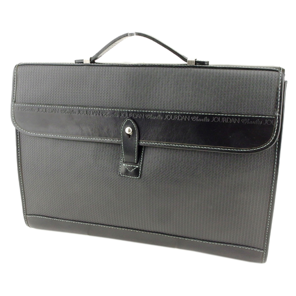 【中古】 シャルル ジョルダン CHARLES JOURDAN ビジネスバッグ ブリーフケース メンズ ロゴライン グレー 灰色 ブラック シルバー PVC×レザー 人気 良品 Q567