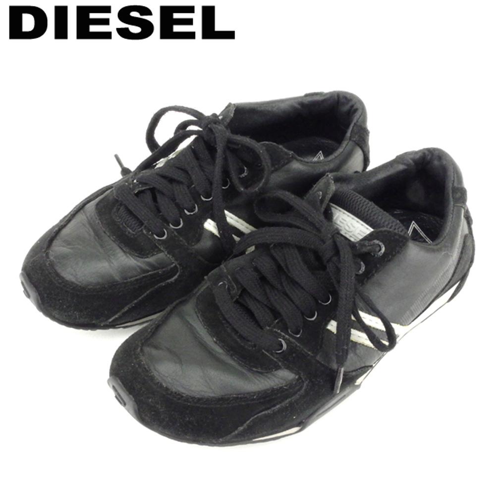 【中古】 ディーゼル DIESEL スニーカー シューズ 靴 レディース ♯22.5 ブラック グレー 灰色 シルバー レザー×スエード Q570