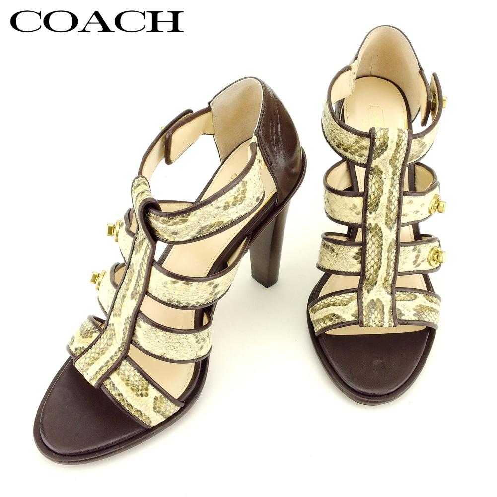 【中古】 コーチ COACH サンダル シューズ 靴 レディース #38.5 ブラウン ベージュ レザー Q572
