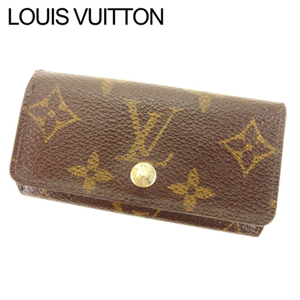 【中古】 ルイ ヴィトン Louis Vuitton キーケース 4連キーケース レディース メンズ ミュルティクレ4 モノグラム ブラウン モノグラムキャンバス 人気 セール Q578 .