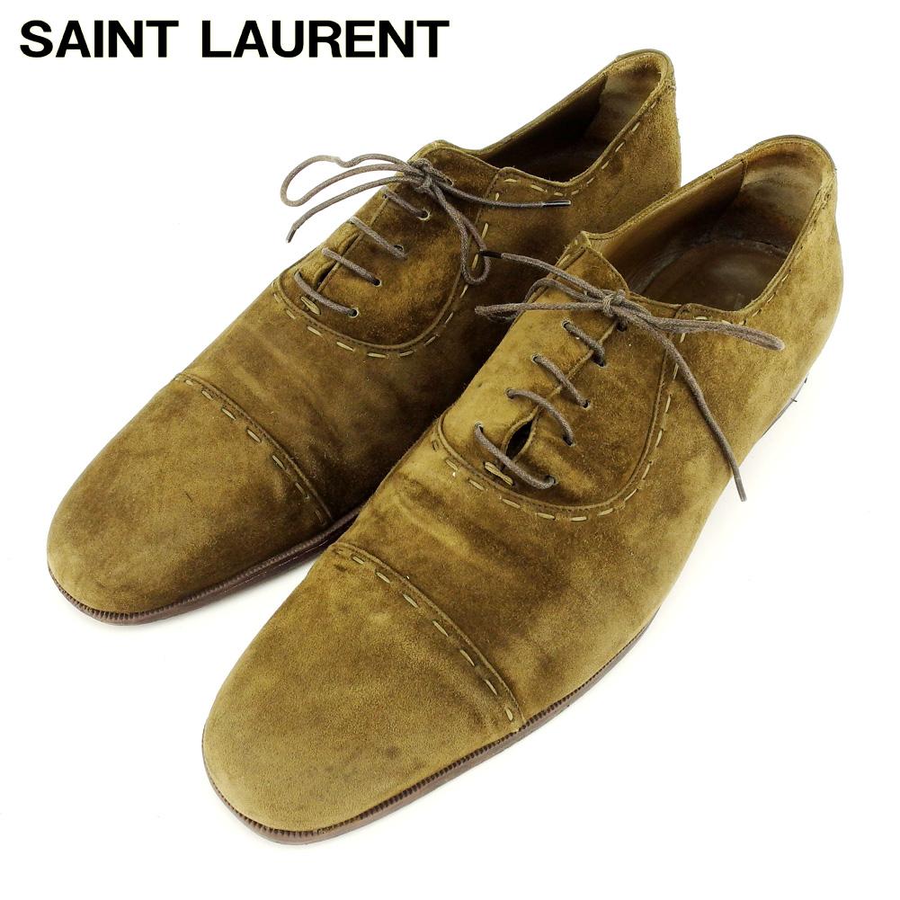 【中古】 サンローラン SAINT LAURENT ローファー シューズ 靴 メンズ #43 グリーン スエード Q586