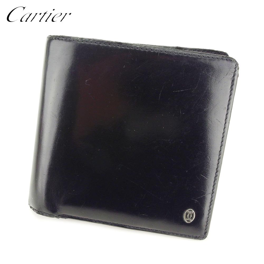 二つ折り カルティエ パシャ 財布 Cartier T5197 メンズ 【中古】 【送料無料】 ブラック ゴールド レザー