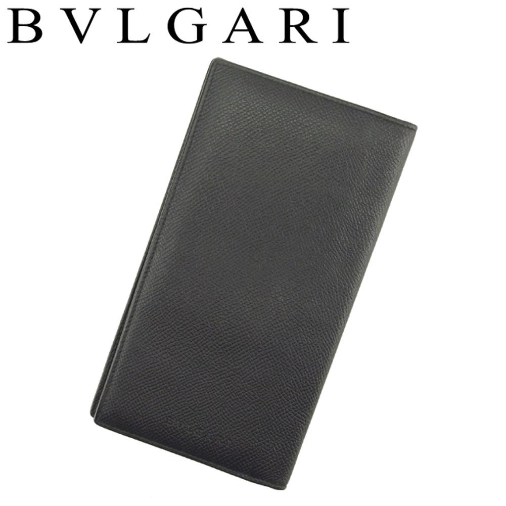 【中古】 ブルガリ BVLGARI 長札入れ 札入れ メンズ ブラック レザー T9122 .