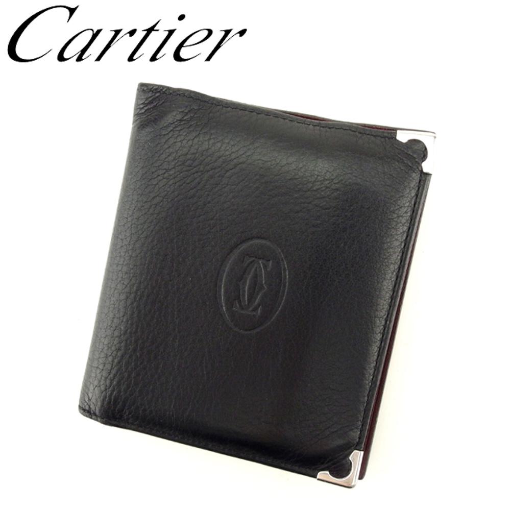 【中古】 カルティエ Cartier 二つ折り 札入れ メンズ カボション ブラック シルバー ボルドー レザー 人気 セール T9128