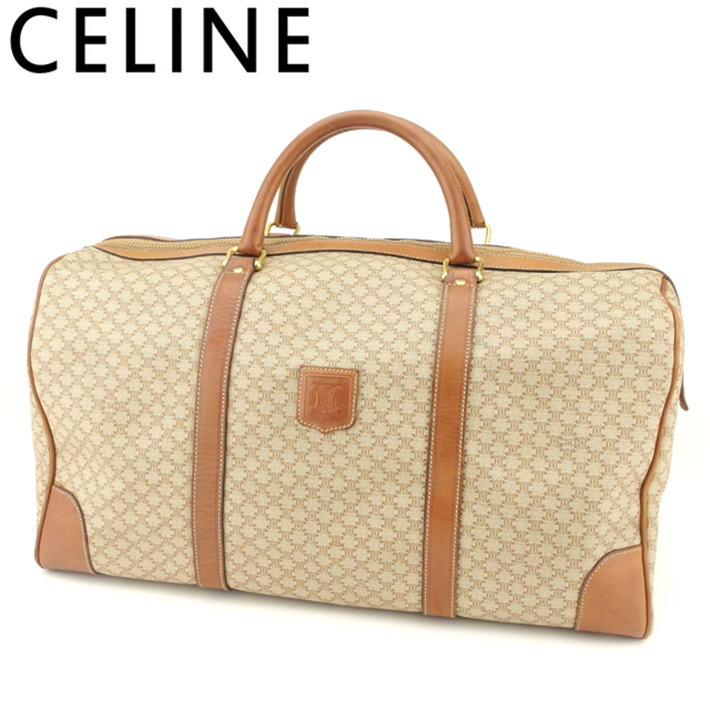 BRAND DEPOT TOKYO  Celine CELINE Boston bag travel bag traveling bag Lady s  men macadam beige brown gold PVC X leather popularity sale T9129  a094dfd8e99a7