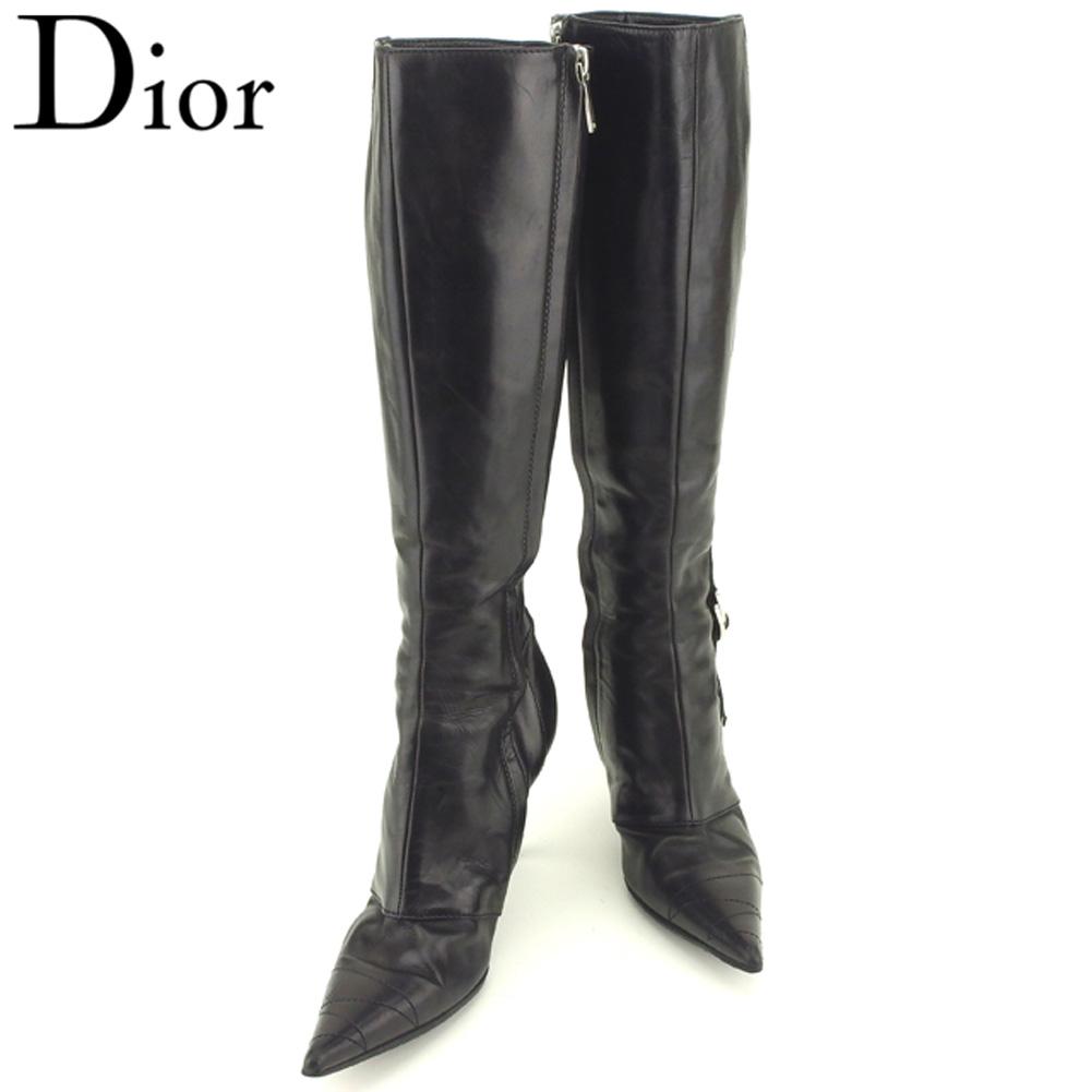 【中古】 ディオール Dior ブーツ シューズ 靴 レディース ♯36ハーフD ロゴテープ ブラック シルバー レザー T9162