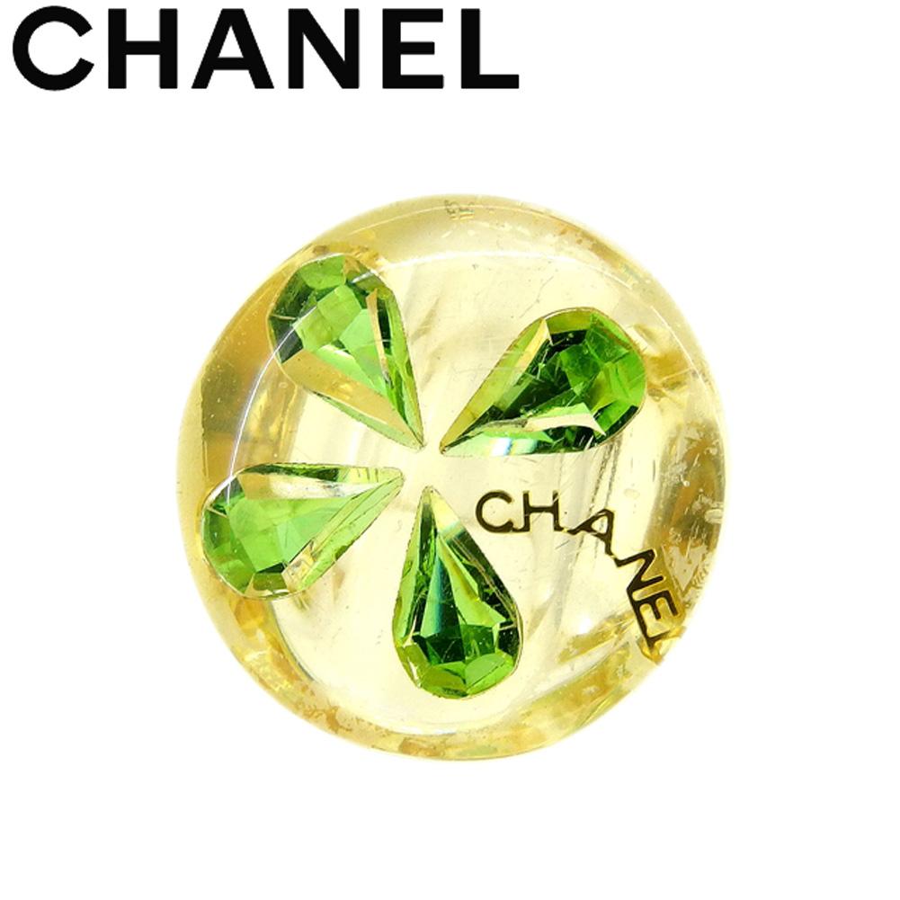 【中古】 シャネル CHANEL 指輪 リング アクセサリー レディース ♯約13~14号 イエロー グリーン ゴールド プラスチック T9194 .