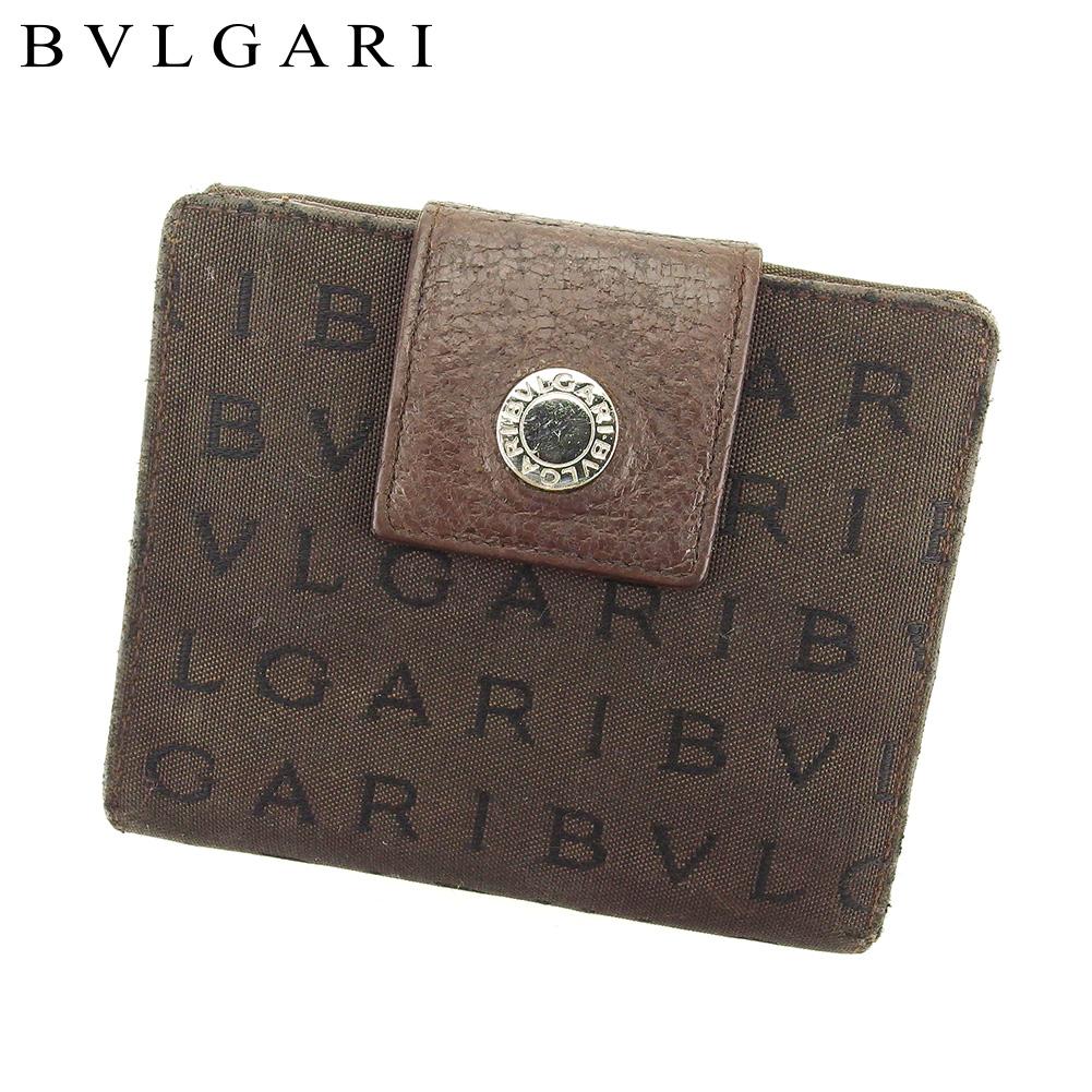 【中古】 ブルガリ BVLGARI Wホック 財布 二つ折り 財布 レディース メンズ ロゴマニア ブラウン キャンバス×レザー 人気 セール T9264