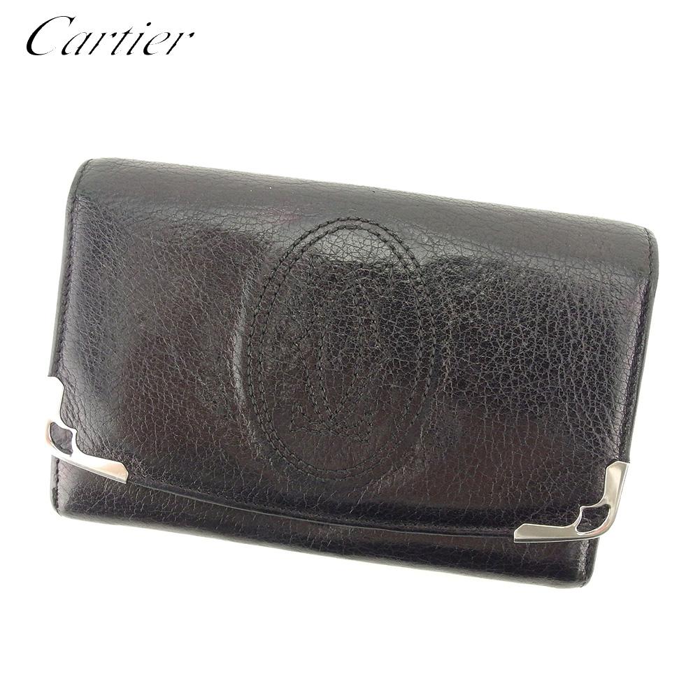 【中古】 カルティエ Cartier L字ファスナー 財布 二つ折り 財布 レディース メンズ マルチェロ ブラック レザー 人気 セール T9275