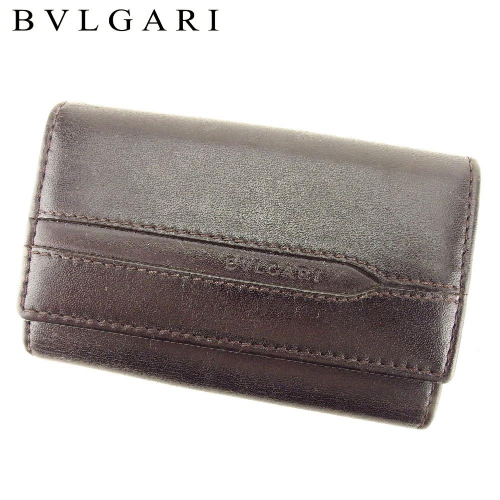 【中古】 ブルガリ BVLGARI キーケース 6連キーケース レディース メンズ  ブラウン レザー 人気 良品 T9402 .