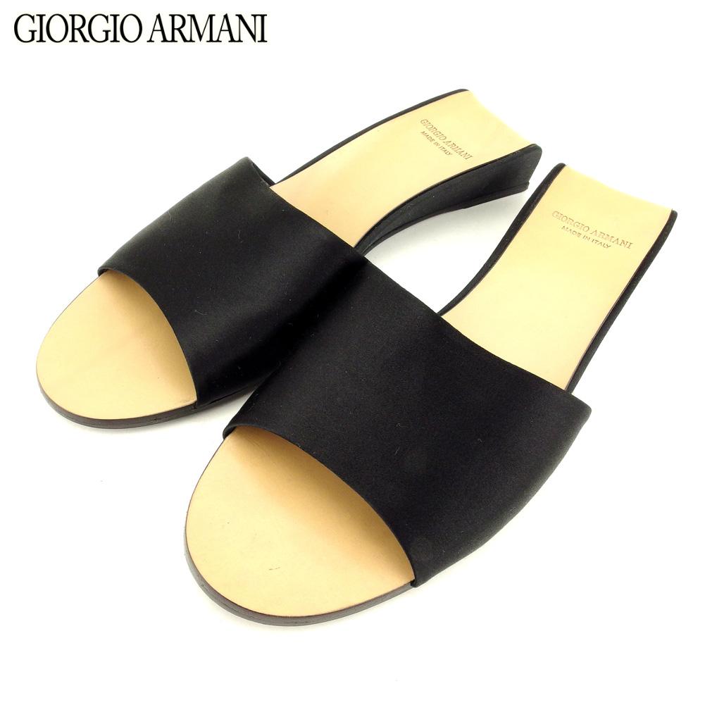 f3d8591fc3ff Giorgio Armani GIORGIO ARMANI sandals shoes shoes Lady s  37 black satin  popularity quality goods T9414