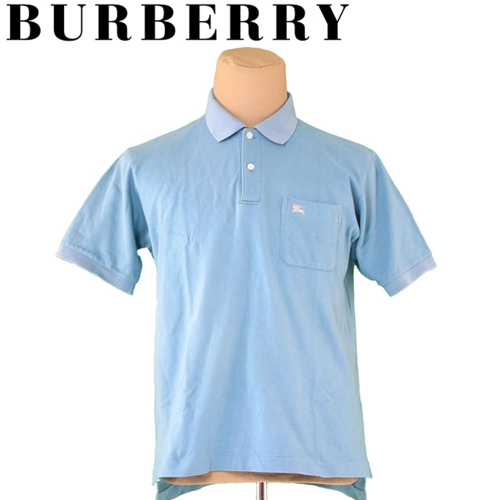 【中古】 バーバリー BURBERRY ポロシャツ 半袖 カットソー メンズ ♯Lサイズ ブルー コットン 綿 A1778 .