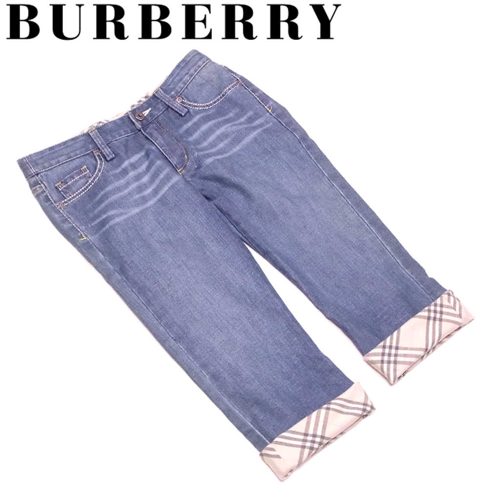 e67898f21f Burberry blue label BURBERRY BLUE LABEL jeans checked pattern roll-up  underwear Lady's ♯ 24 ...