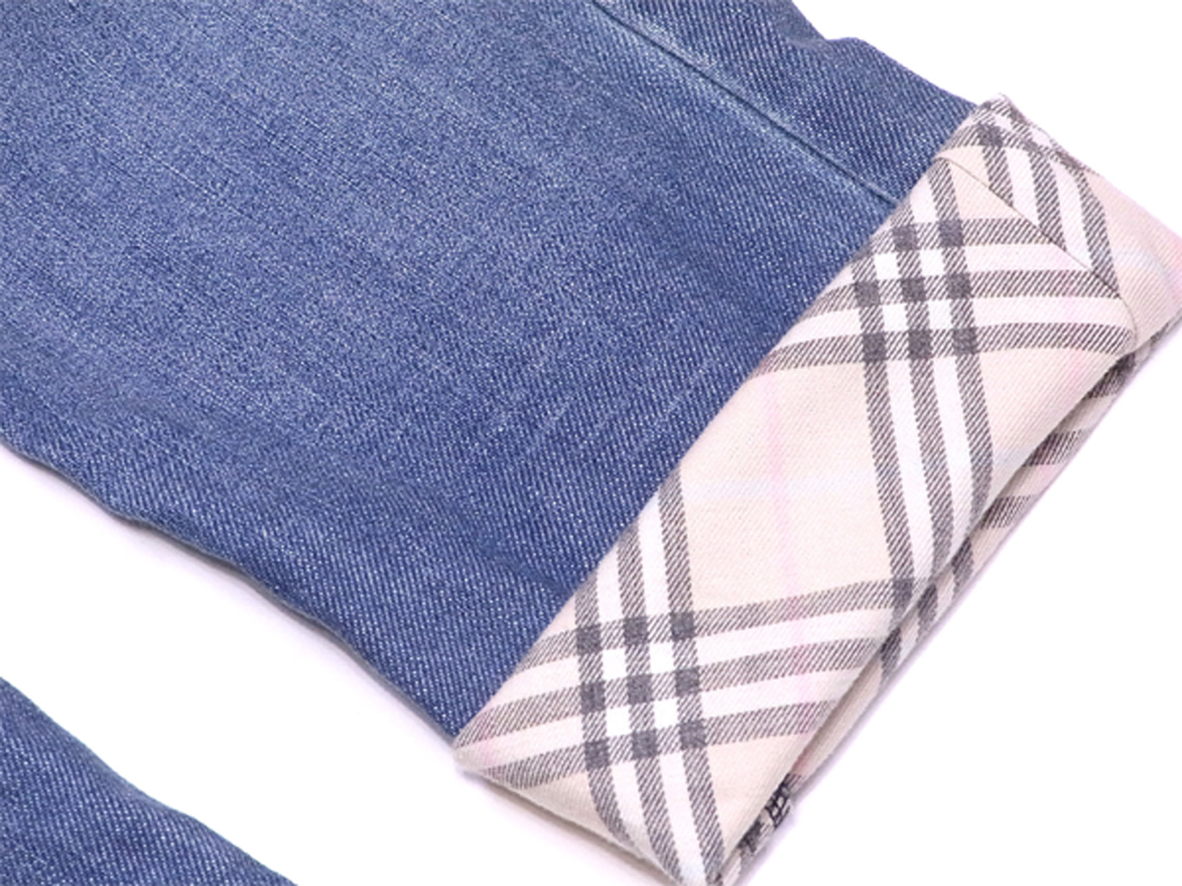 039991344e ... Burberry blue label BURBERRY BLUE LABEL jeans checked pattern roll-up  underwear Lady's ♯ 24 ...