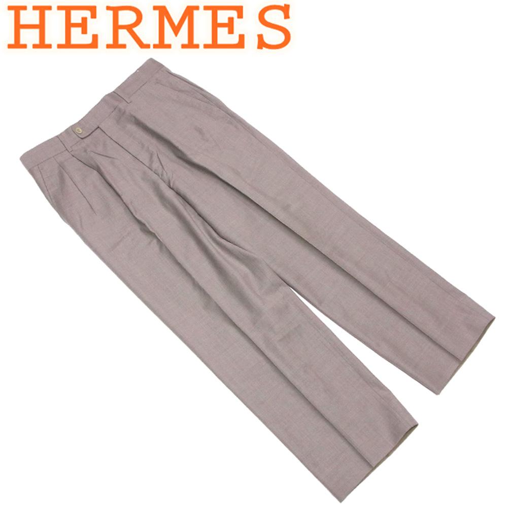 【中古】 エルメス HERMES パンツ スラックス ボトムス メンズ ♯50サイズ センタープレス ベージュ 羊毛 ウール 訳あり セール G1346