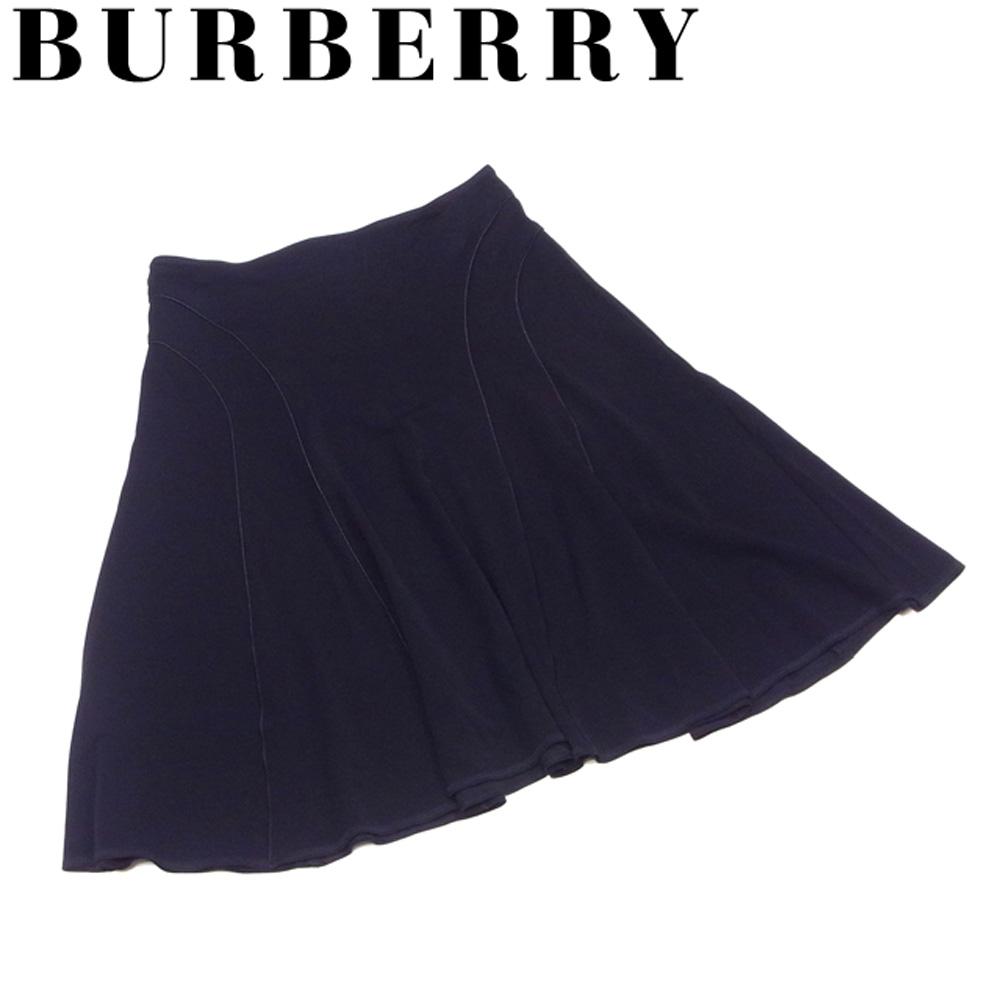 【中古】 バーバリー BURBERRY スカート パイピング切替え ボトムス レディース ♯38サイズ フレアー ブラック レーヨン ナイロン ポリエステル 人気 セール G1362