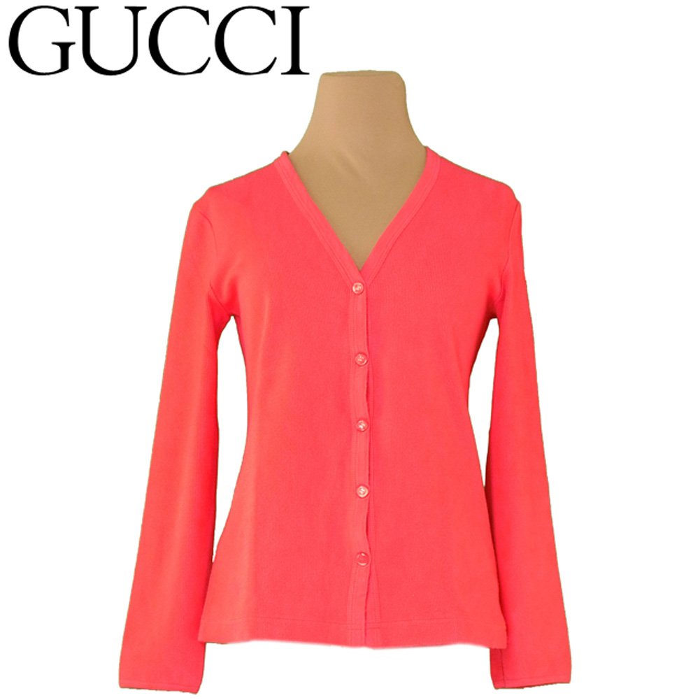 a9b1016ef Gucci GUCCI cardigan V neck cut-and-sew Lady's ♯ small size double G ...