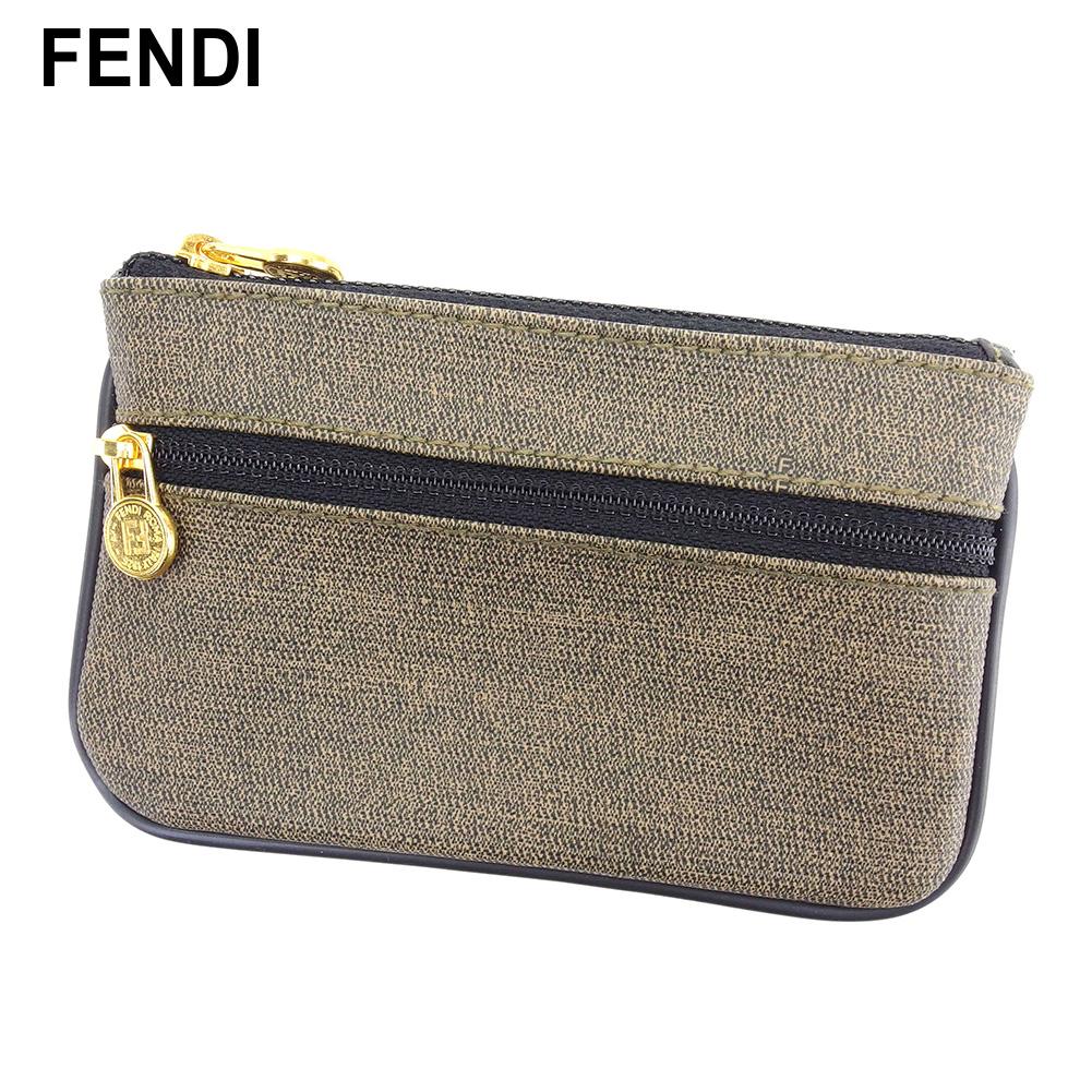 【中古】 フェンディ FENDI ポーチ 小物入れ レディース メンズ ベージュ ブラック PVC×レザー L2620