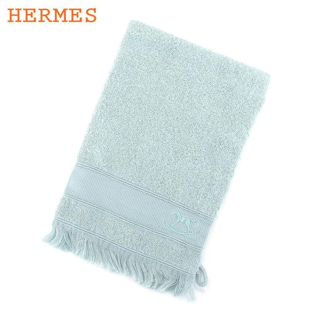 【中古】 エルメス HERMES ポーチ 化粧ポーチ 巾着 レディース ブルー 綿100% L2621