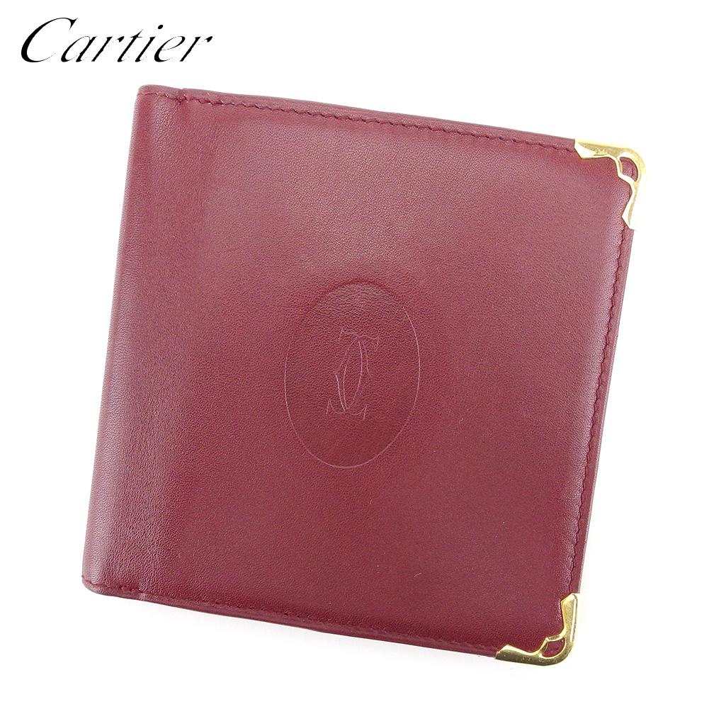 【中古】 カルティエ Cartier 二つ折り 財布 財布 レディース メンズ マストライン ボルドー レザー 人気 セール L2625