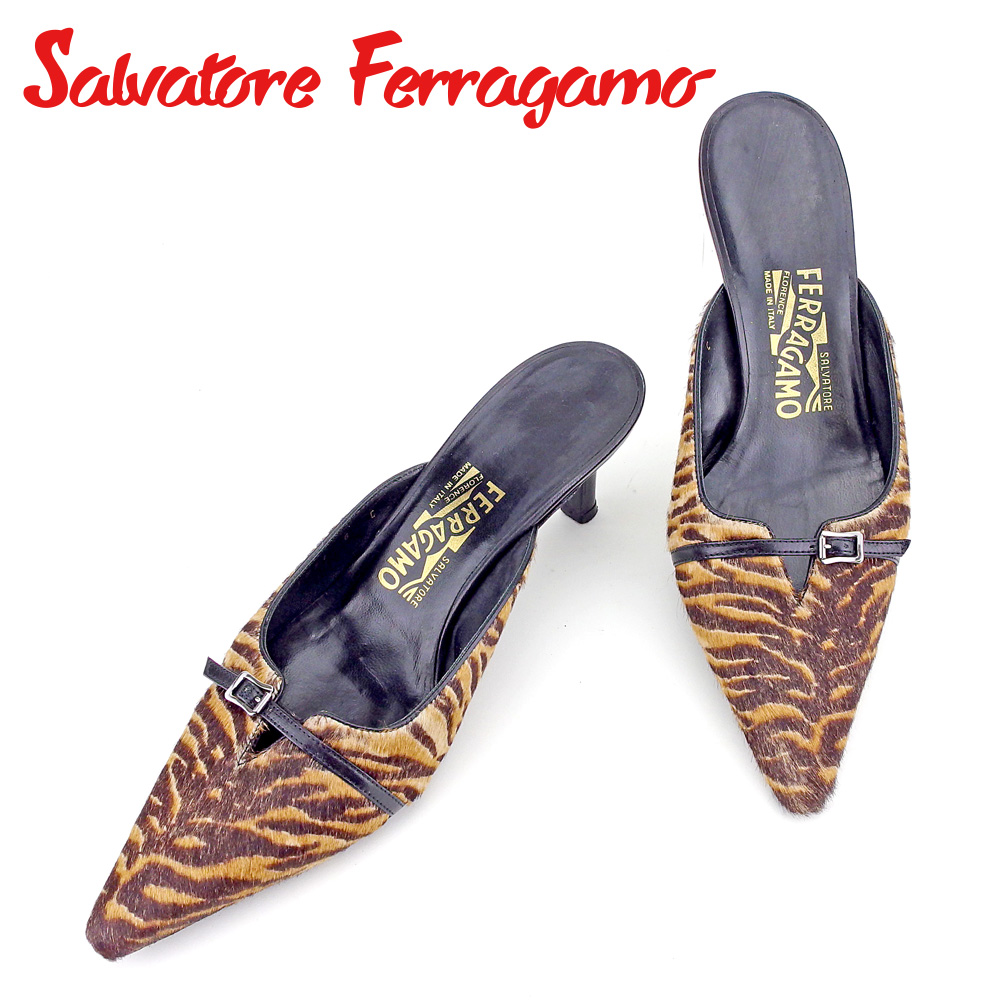 【中古】 サルヴァトーレ フェラガモ Salvatore Ferragamo ミュール シューズ 靴 レディース #6 ブラウン レザー×ハラコ L2757 .