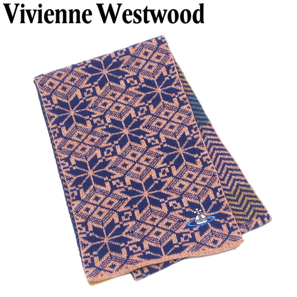 【中古】 ヴィヴィアン ウエストウッド Vivienne Westwood マフラー オーブ刺繍入り レディース メンズ ジグザグボーダー ノルディック ネイビー オレンジ系 ウール 毛 アクリル ナイロン 美品 セール S1009