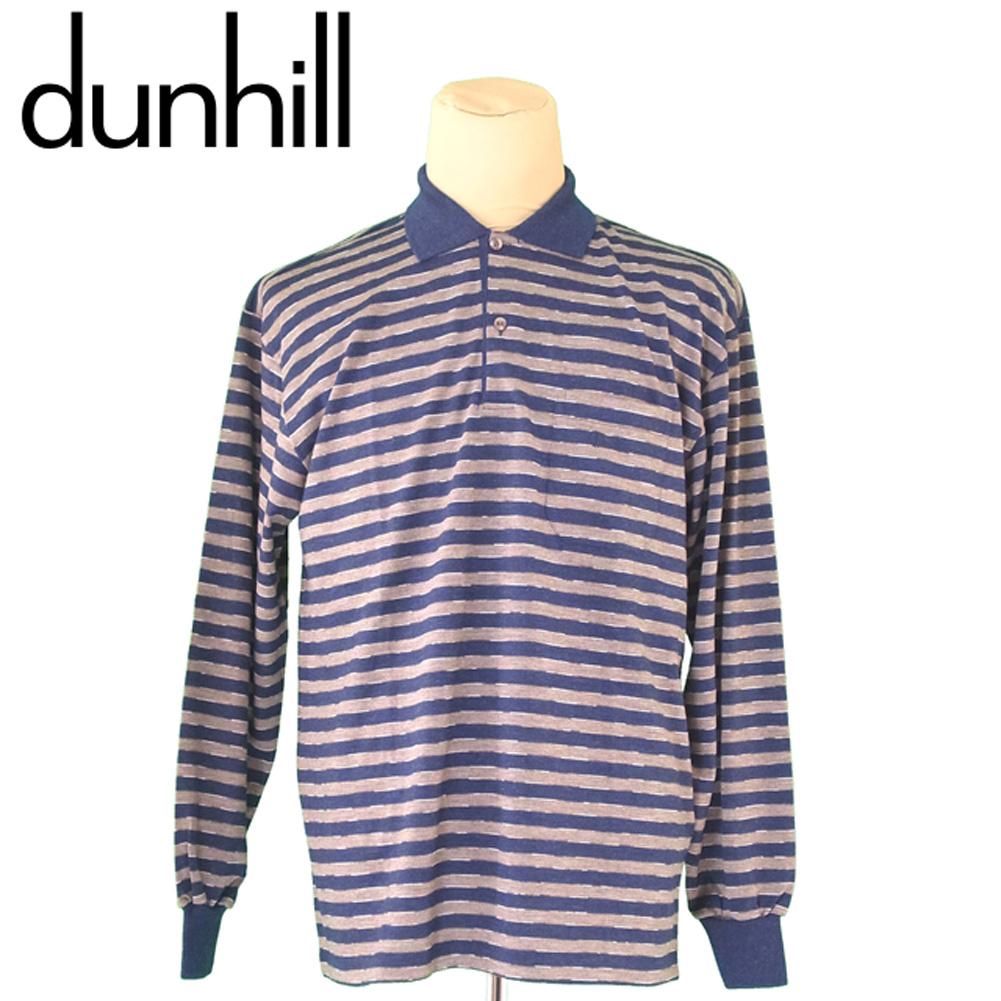 【中古】 ダンヒル dunhill ポロシャツ 長袖 カットソー メンズ ♯Lサイズ ボーダー ネイビー ベージュ ウール 毛 超美品 セール S1012