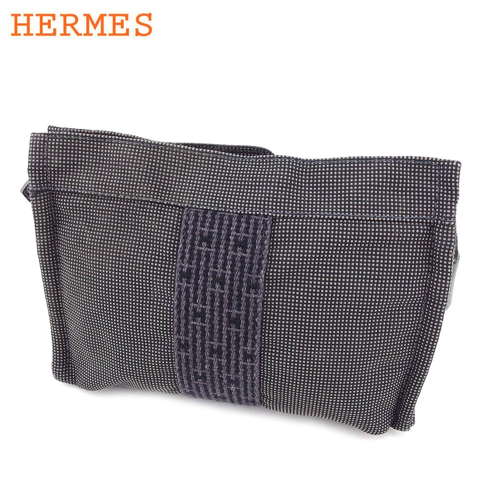【中古】 エルメス HERMES 化粧ポーチ ポーチ レディース メンズ エールライン ブラック グレー 灰色 キャンバス 人気 セール T8834