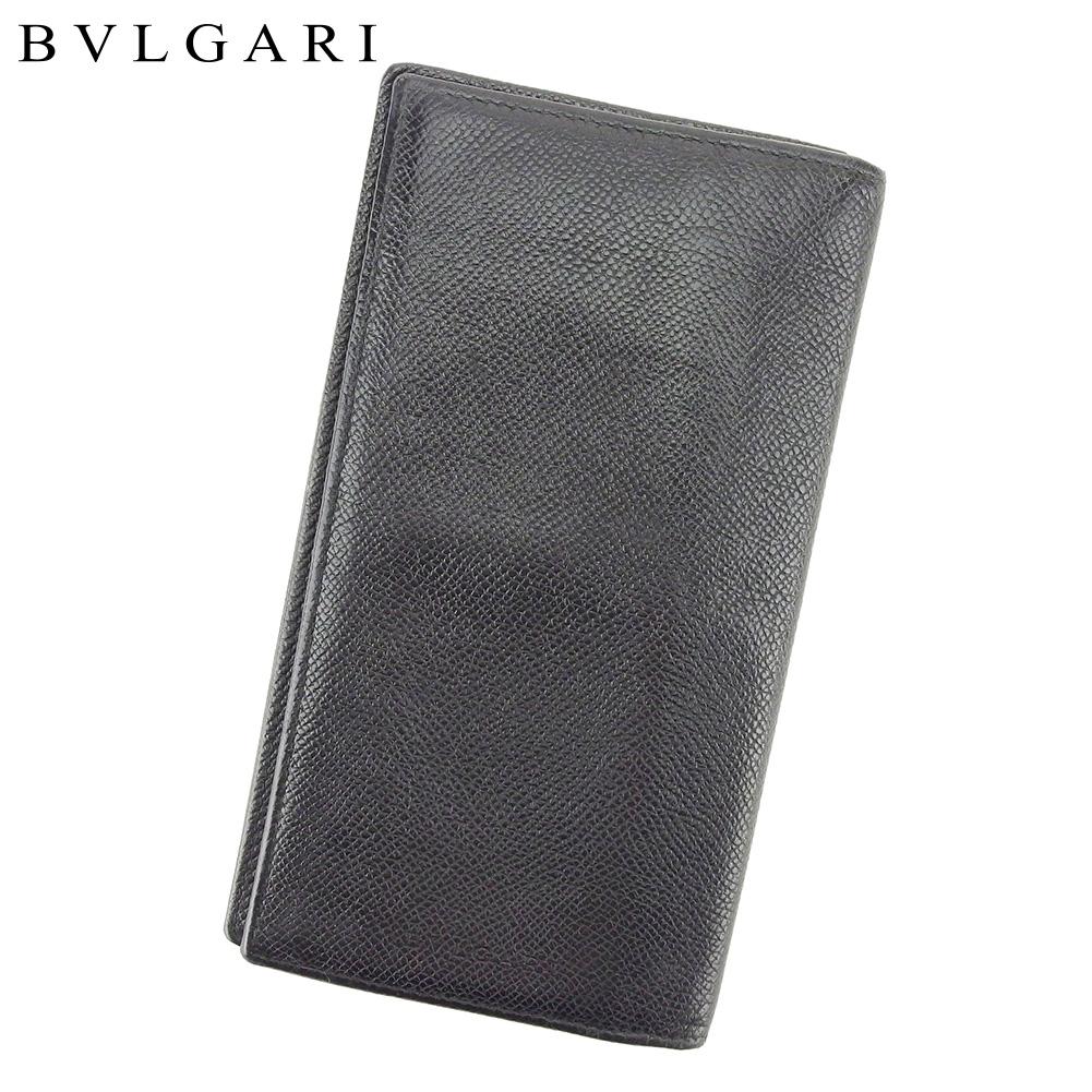 【中古】 ブルガリ BVLGARI 長札入れ 長財布 レディース メンズ ブラック レザー T8909 .