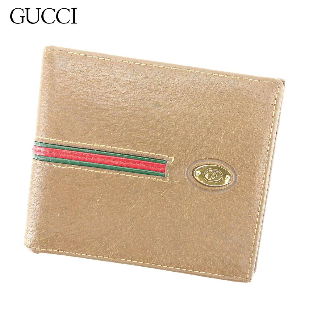 【中古】 グッチ GUCCI 二つ折り 札入れ 二つ折り 財布 レディース メンズ ベージュ レザー T8912