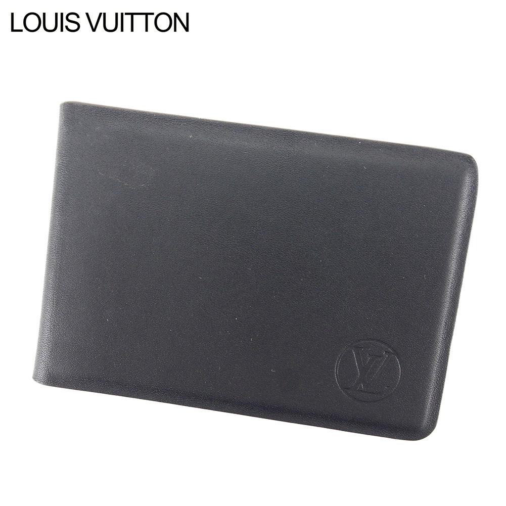 【中古】 ルイ ヴィトン LOUIS VUITTON ミラー 鏡 コンパクトミラー レディース メンズ ミロワール・ノマド オレリヤン  ブラック レザー 人気 良品 T8917