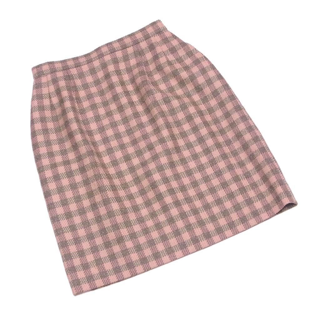 【中古】 フォクシー FOXEY スカート ボトムス レディース 台形 ミニ ピンク ブラウン 毛 ウール ナイロン T9025