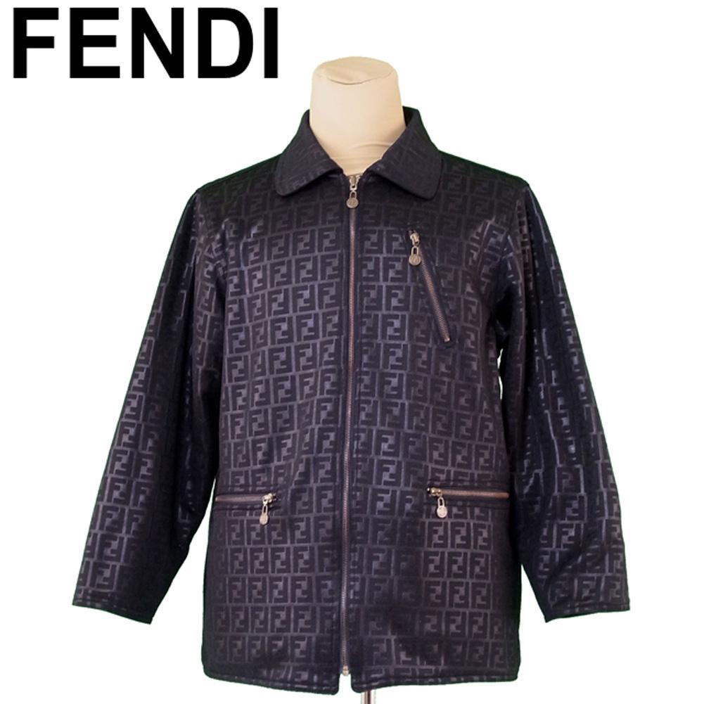 【中古】 フェンディ FENDI アウター コート メンズ リバーシブル ズッカ ブラック ゴールド コットン 美品 セール T9061