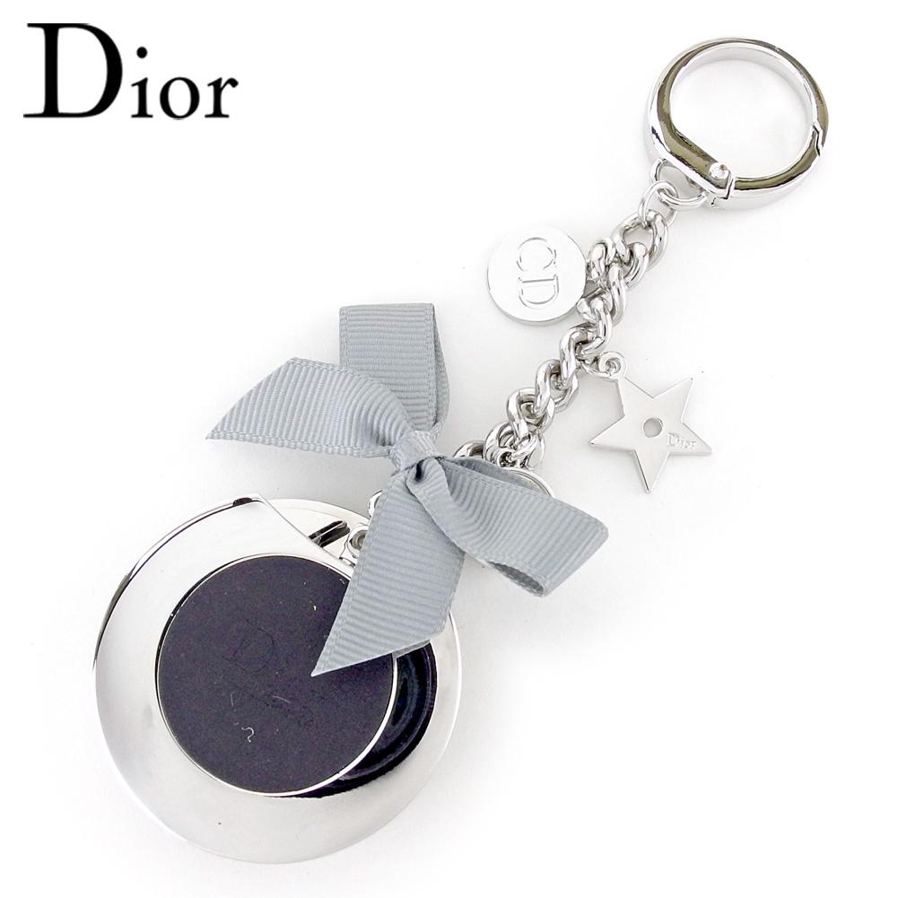 【中古】 ディオール Dior バッグホルダー キーリング リボンモチーフ レディース メンズ シルバー クリスマス プレゼント バック ブランド 人気 収納 在庫一掃 1点物 兼用 男性 女性 良品 夏 T9543 .
