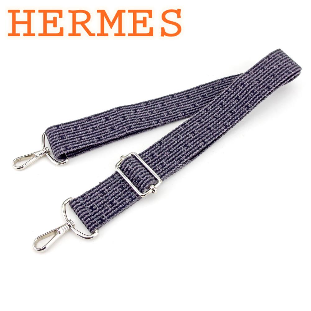 【中古】 エルメス HERMES バッグストラップ ショルダー レディース メンズ エールライン グレー 灰色 ブラック キャンバス 人気 良品 T9548
