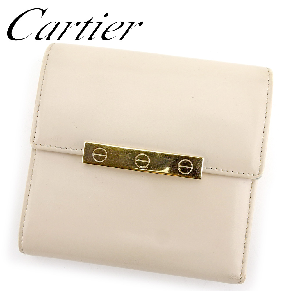 【中古】 カルティエ Cartier 三つ折り 財布 二つ折り 財布 レディース ラブコレクション ベージュ レザー 人気 セール T9554