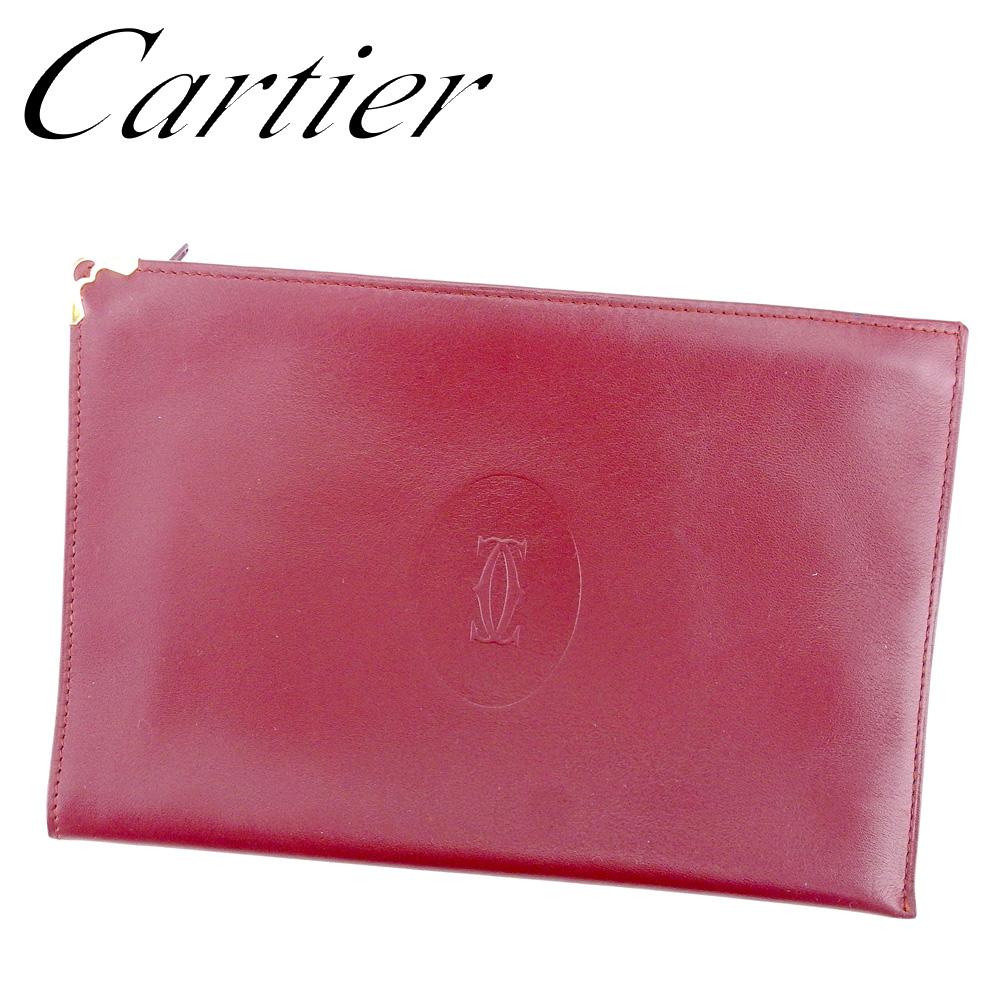 【中古】 カルティエ Cartier ポーチ 化粧ポーチ レディース メンズ ボルドー レザー T9555