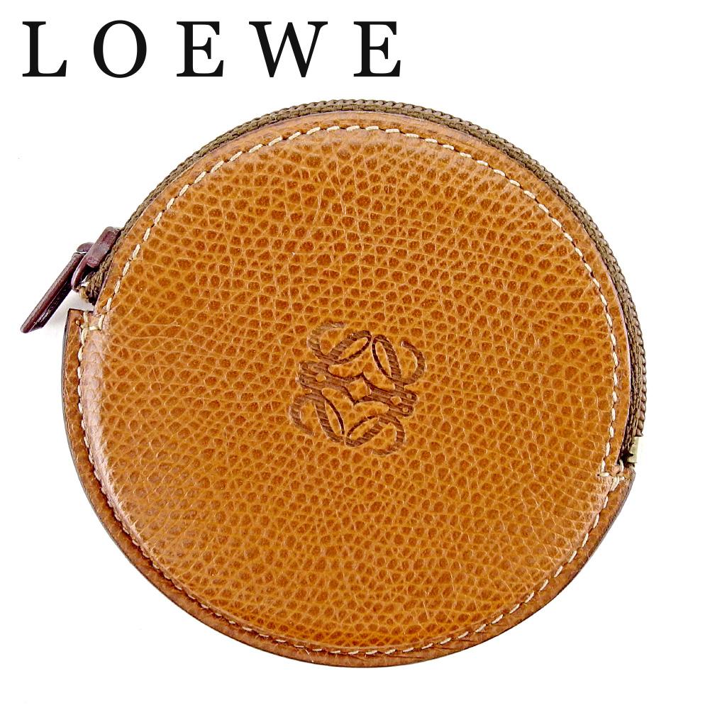 【中古】 ロエベ LOEWE コインケース 小銭入れ レディース メンズ ブラウン レザー T9563