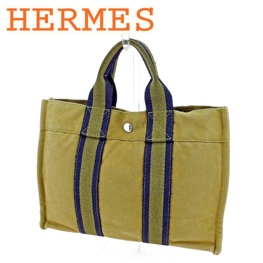 【中古】 エルメス HERMES トートバッグ ハンドバッグ レディース メンズ フールトゥトートPM フールトゥ グリーン 綿100% 人気 セール T9566