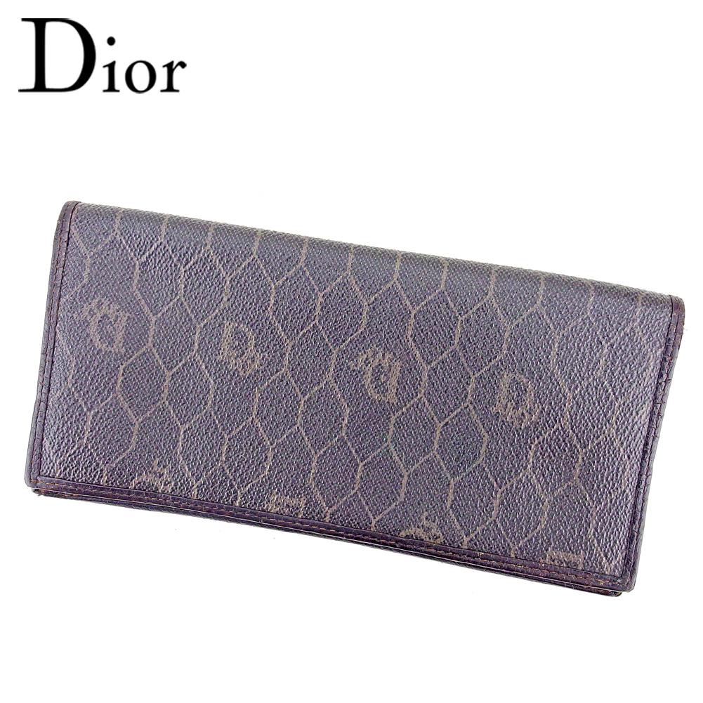 【中古】 ディオール Dior 長札入れ 長財布 レディース メンズ ヴィンテージディオール ブラック PVC×レザー ヴィンテージ 人気 T9570