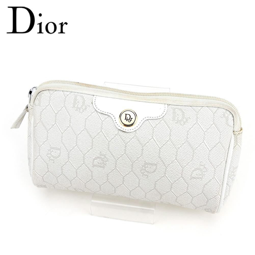 【中古】 ディオール Dior ポーチ 化粧ポーチ レディース メンズ ホワイト 白 PVC×レザー T9571