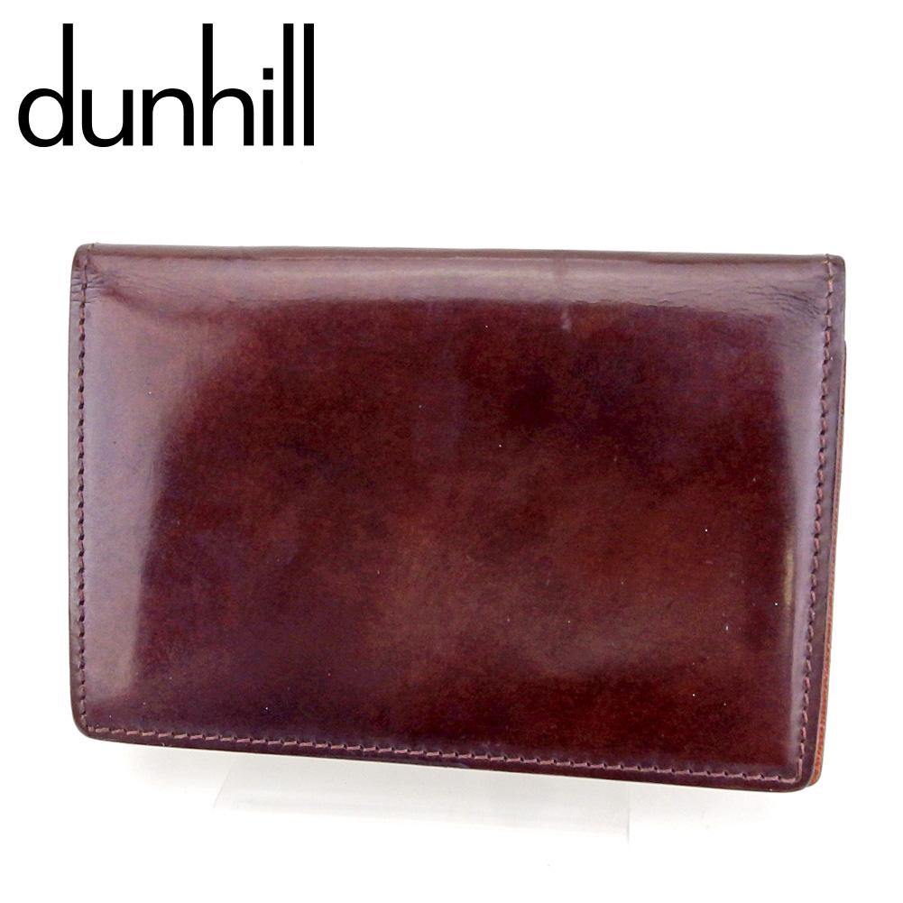 【中古】 ダンヒル カードケース カード 名刺入れ ブラウン レザー dunhill T9578