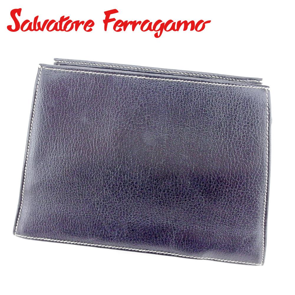 【中古】 サルヴァトーレ フェラガモ Salvatore Ferragamo ポーチ 化粧ポーチ レディース ブラック ゴールド レザー B1060