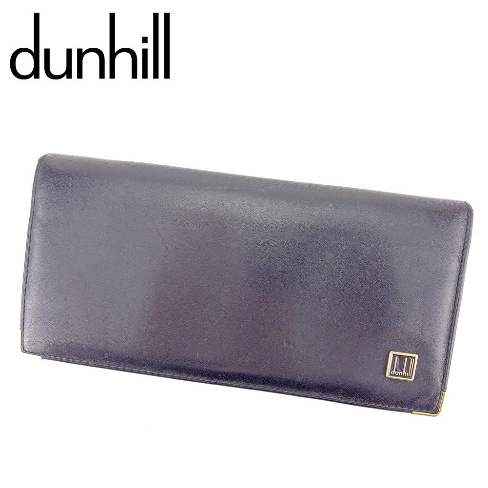 【中古】 ダンヒル dunhill 長財布 ファスナー付き 財布 メンズ ロゴプレート ブラック ゴールド レザー 人気 セール B1071