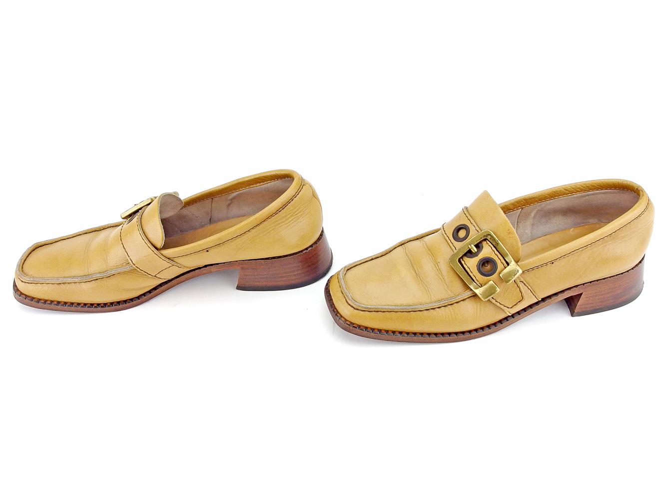 b19ba5257 ミュウミュウ miu miu loafer shoes shoes Lady's ♯ 37 half square toe belt design  beige brown gold leather popularity sale B1074.