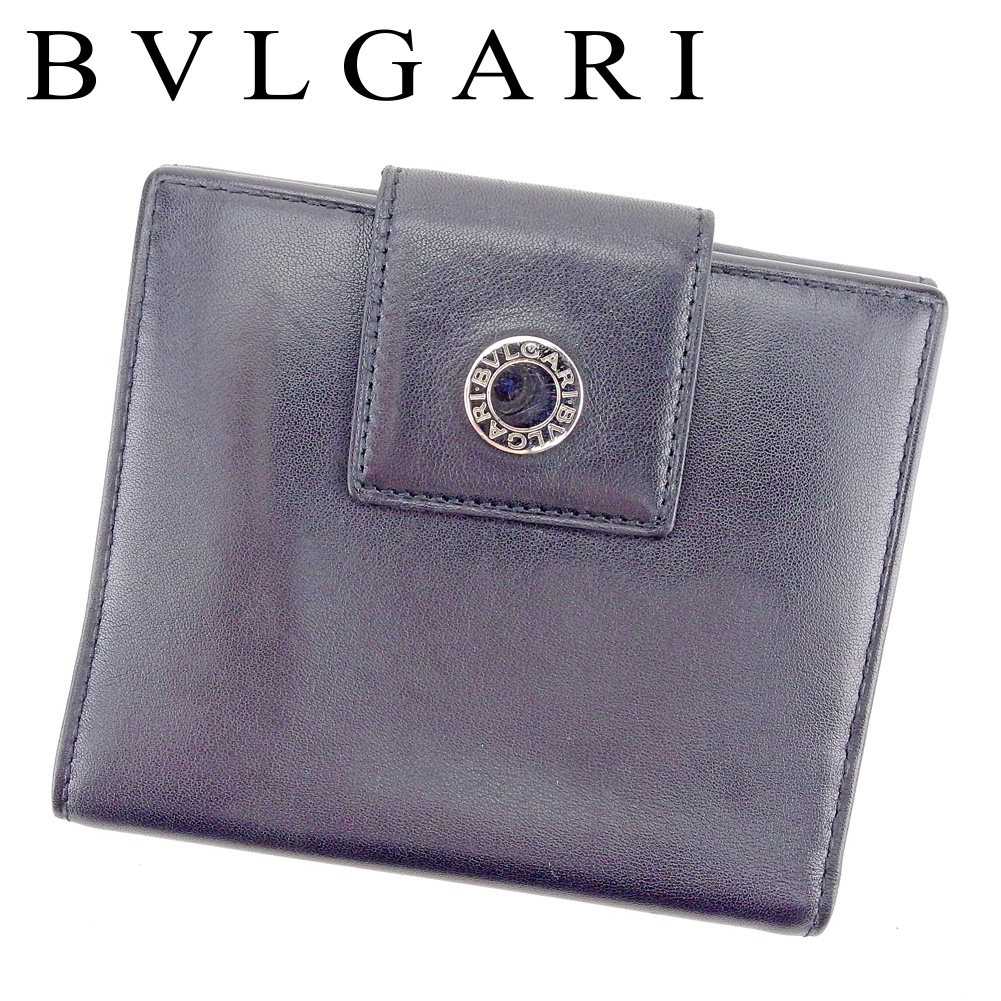 【中古】 ブルガリ BVLGARI Wホック 財布 二つ折り レディース メンズ ロゴボタン ブラック シルバー レザー 人気 良品 T9493