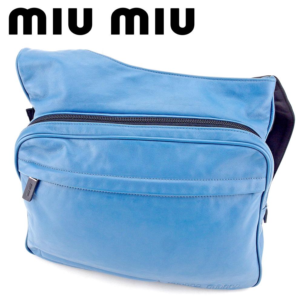 【中古】 ミュウミュウ miu miu ショルダーバッグ 斜めがけショルダー バッグ レディース メンズ ロゴ ブルー ブラック レザー×キャンバス 人気 良品 T9503