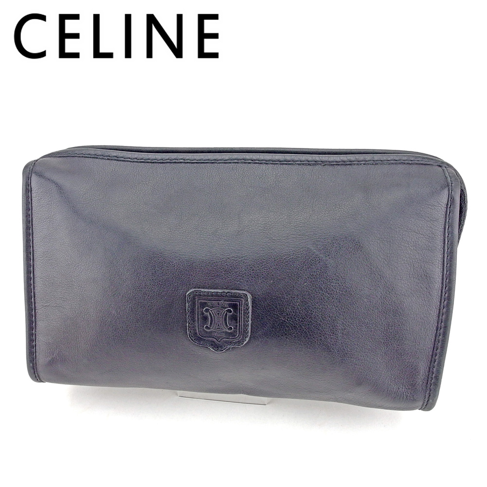 【中古】 セリーヌ CELINE クラッチバッグ セカンドバッグ レディース メンズ マカダムマーク ブラック レザー 人気 セール T9521
