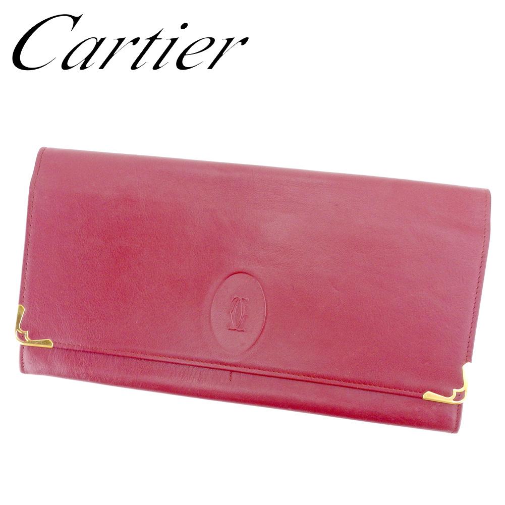 【中古】 カルティエ Cartier クラッチバッグ セカンドバッグ レディース メンズ マストライン ボルドー ゴールド レザー 人気 セール T9527