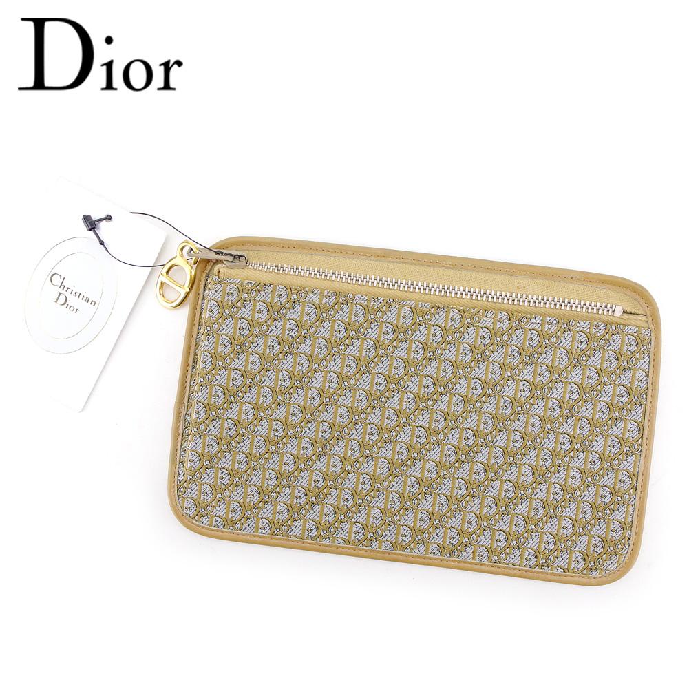 【中古】 ディオール Dior ポーチ レディース メンズ ベージュ グレー 灰色 ゴールド キャンバス×レザー T9533